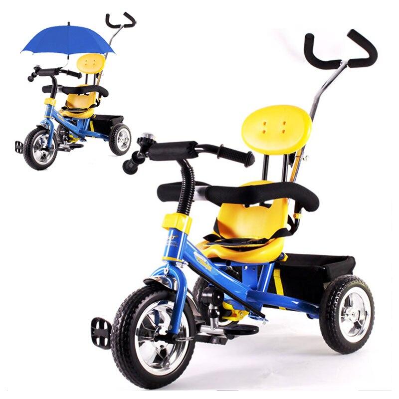 Bébé 3 roues Tricycle vélo poussette enfants d'âge préscolaire vélo Tricycle Guadrail panier à provisions Buggy landau poussette 6M ~ 6Y