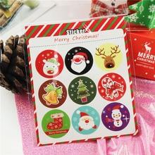 цена на 90Pcs Merry Christmas Santa Tree Pattern Gift Kraft Sticker Gift Labels Stickers Sweets Party Seal Sticker Santa Claus