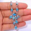 """Prata Fogo Azul Opala de Luxo de Varejo para As Mulheres Jóias Da Moda Por Atacado Pingente de Colar de 16 """"-18"""" OL44"""