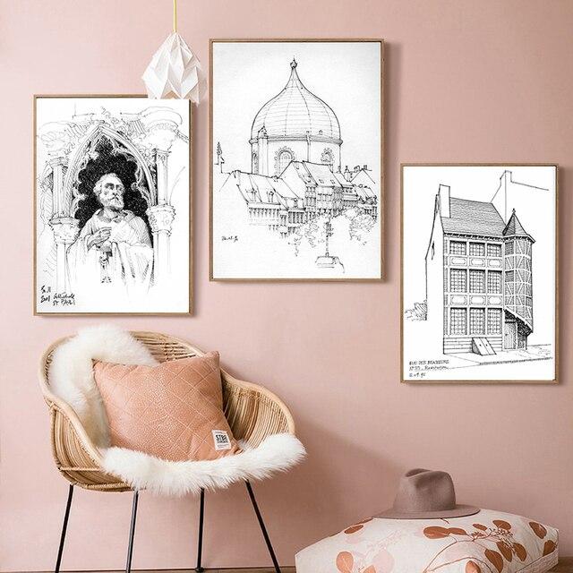 Blanco Y Negro Arte Lienzo Pintura Impresionante Dibujo Edificio