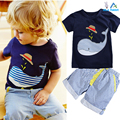 Summer Kids Children's cotton short-sleeved suit boys suits t-shirt + pants 2pcs striped short baby Whale Cartoon 2016