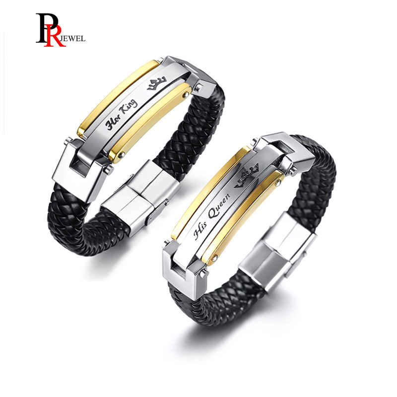 Her King His Queen Couple Bracelet for Women Men Black Genuine Leather Crown Charm Bracelet Bangle Promise Love Dating Jewelry