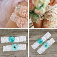 2Pcs Lot Hot Party Supplies Bride Legs Decorated Traditional Lace Bridal Garter Rose Disk Flowers Wedding