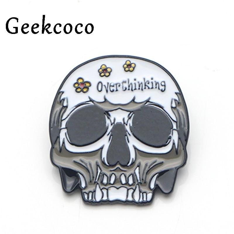 Overthinking letter skull punk Zinc Alloy pins backpack pride clothes medal for bag shirt hat badge brooches men women J0182