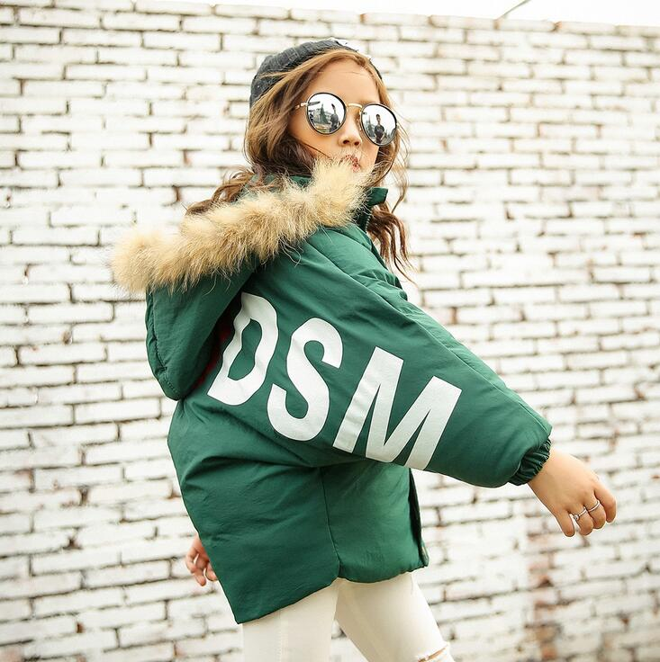 Short Style Thick Childen's Down Jacket Long Sleeve Zipper Vintage Winter Girls Coats Casual Fake Fur Hooded Jackets For Boys mens long winter camouflage jacket fur hooded down 2017 outwear thick military style parkas male big coats army green camo 3xl