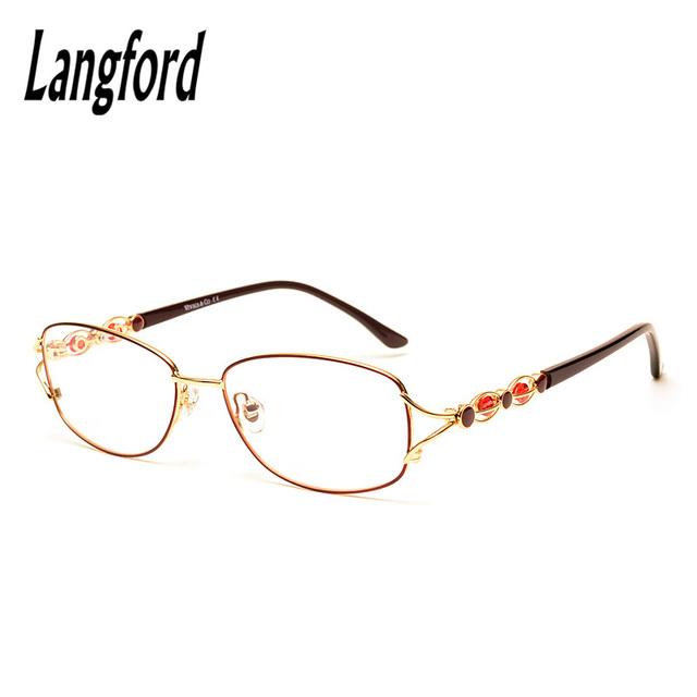 Langford marca armações de óculos para as mulheres ópticos novos designs espetáculo prescrição óculos grandes quadros de luxo requintado 506