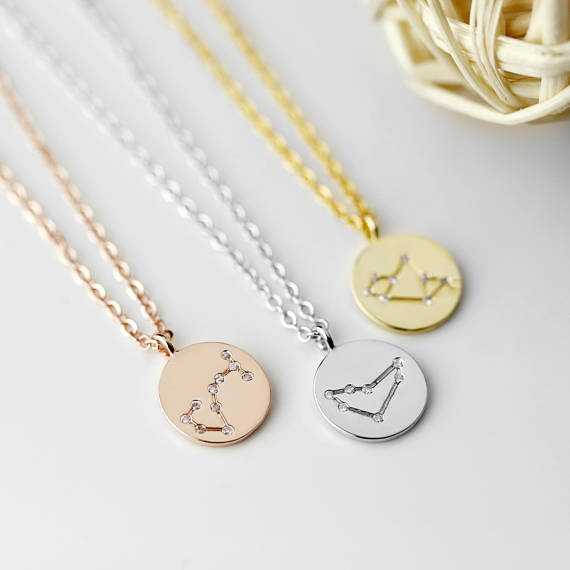 Zodiac Constellation Necklace Cubic Zirconia Crystal Necklace Disc Necklace Celestial Jewelry