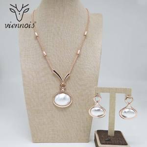 Image 2 - Viennois Mix Farbe Geometrische Design Halskette und Baumeln Ohrringe Schmuck Set für Frauen Dubai Schmuck Set Mode Schmuck