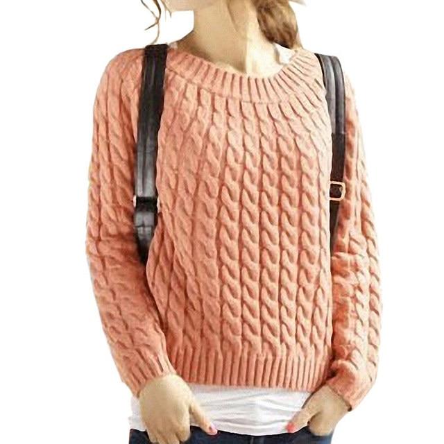 Womens Winter Sweaters Girls Slash Neck Cable Knitting Pattern ...