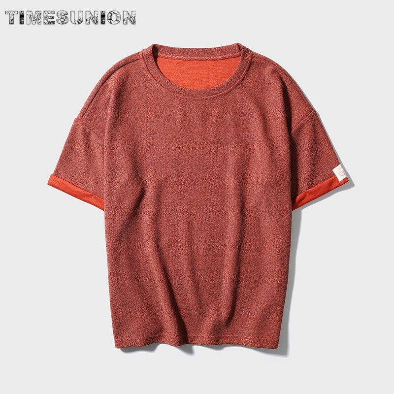 2018 тенденция улице футболка человек оптом модные японские Стиль футболки Для мужчин Лето Половина рукава свободные Однотонная одежда