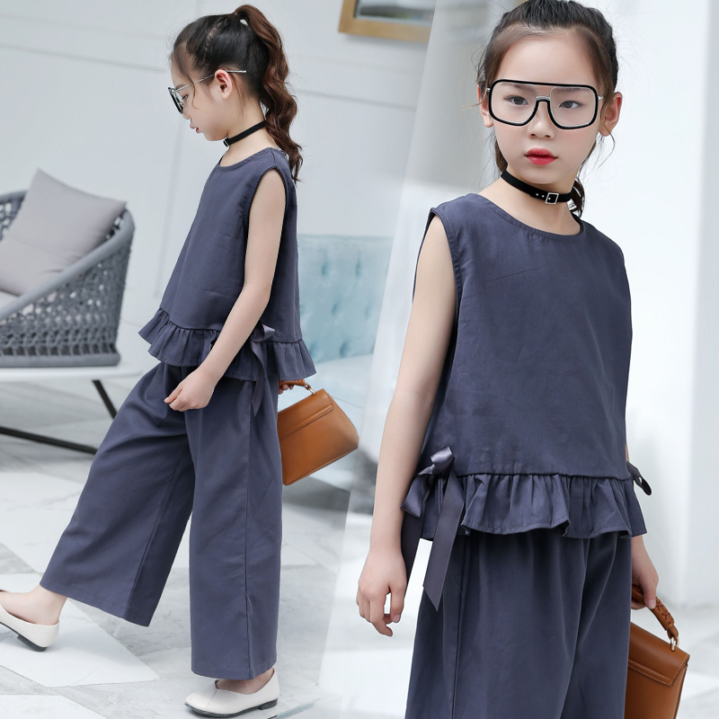 Kids Clothes Girls Summer 2018 Fashion 2pcs Sleeveless T-shirts + Wide Leg Pants Suits For Teenage Girls Clothing Sets 10 12 14 2018 teenage girls clothing sets summer casual children clothing kids clothes toddler girls suits t shirts tops plaid skirts