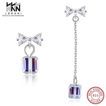 7603b8cc7d65 LEKANI cristales de anillos de Swarovski 925 anillos individuales de plata  de ley con tachuelas de diamantes para mujer anillos sencillos Multicolor  regalo