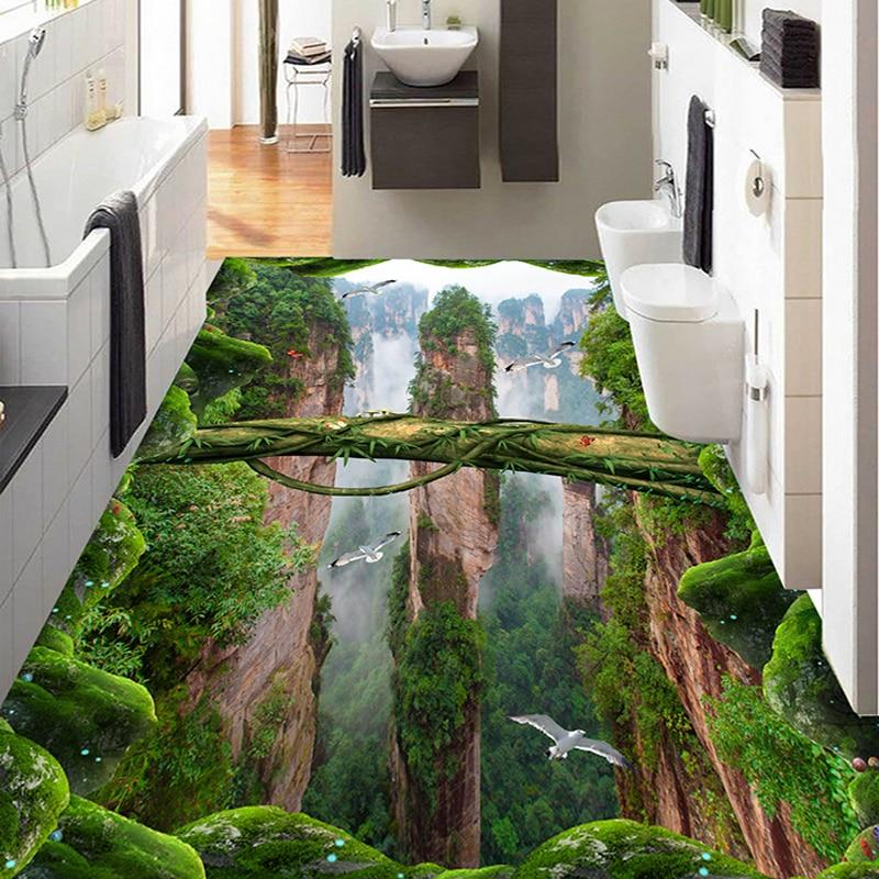 Custom Photo Wall Paper 3D Stereo Forests Valleys Peaks Floor Tiles Murals Sticker Living Room Bathroom PVC Waterproof Wallpaper