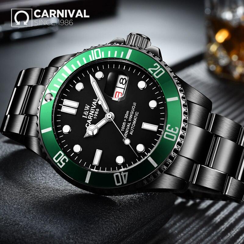 2017 CARNIVAL Submariner Collection Men Watche Topbrand Luxury Black Steel Strap Waterproof Luminous Automatic Mechanical Watch rga r 981 sports watche black