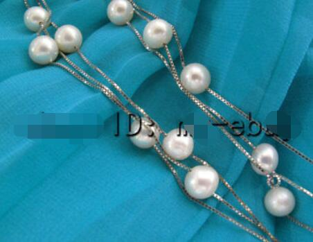 Natural 7mm White Tin Cup Freshwater Pearl Necklace Silver Chain 18