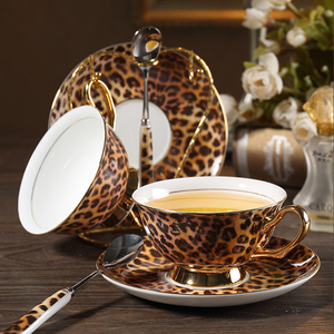 Image 2 - Europe Classic Leopard Print Bone China coffee cups and saucers coffee cup dish set Hand painted Golden rim Home Party tea cup
