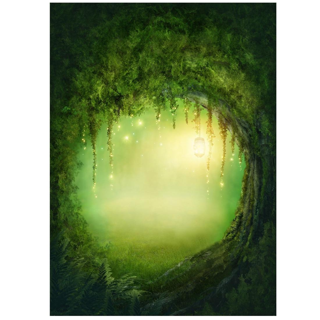 3X5FT Vinyl Studio Backdrop Photography Fairy Tale Forest Photo Background Green send rolled enchanted forest backdrop secret garden lantern fairy tale printed fabric photography background s0038