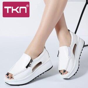 Image 2 - 2019 קיץ נשים פלטפורמת סנדלי נעלי עור אמיתי גבירותיי טריזי סנדלי בוהן פתוח רוכסן Sandalias נעלי נשים 8332