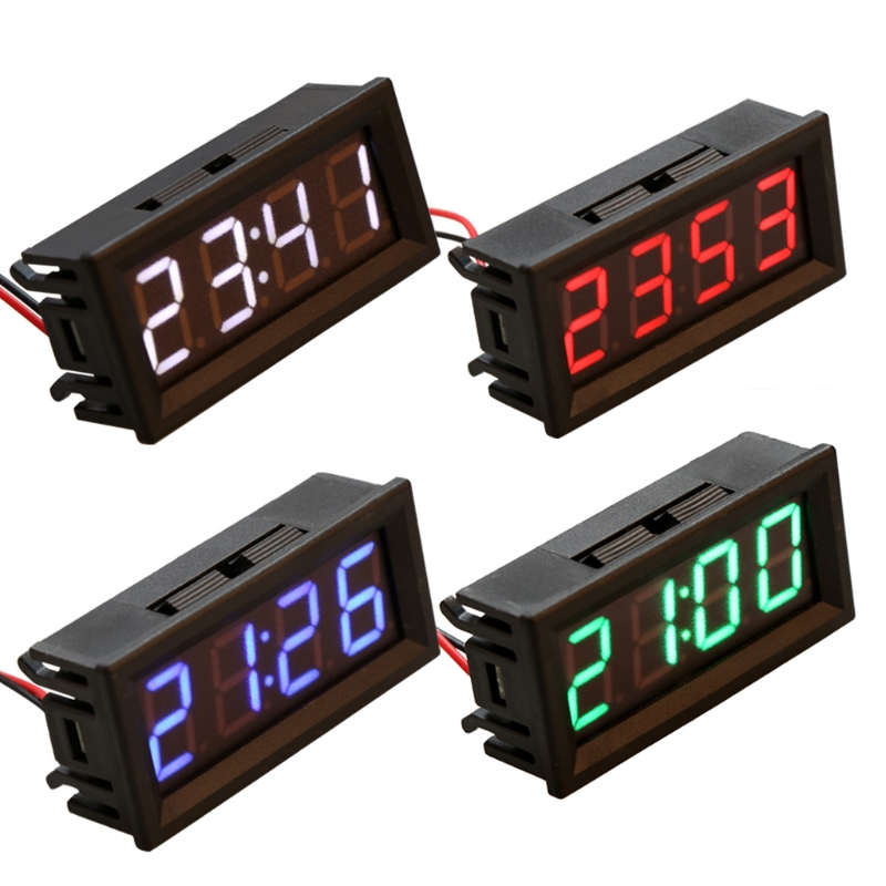 4 Colors 60MMX28MM Highlight 0.56 Digital Electronic Clock Temperature Voltage Meter LED 12V 24V 36v 48v Car Timer