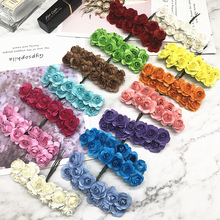 144 PCS / 1 cm artificial bouquets of roses paper flowers wedding decoration/DIY wreath collage