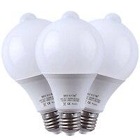 3PCS 9W Light Control Motion Sensor Light+PIR Motion Sensor LED Bulb E27 Led Bulb Auto Smart Led PIR Infrared Body Sound