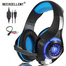 Beexcellent Stereo Gaming Headset for PS4 PC Xbox One Controller Bass Surround LED Light Noise Cancelling Headphones with Mic original xiaomi mi gaming headset 7 1 virtual surround headphones with microphone noise cancelling for pc ps4 laptop phone