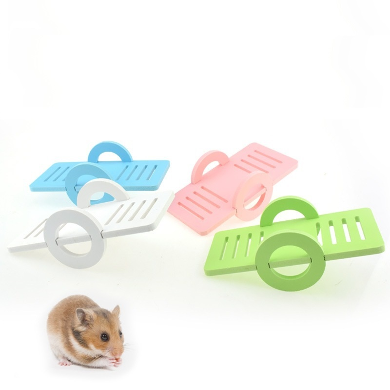 New Pet Hamster Seesaw Toys Wooden Pet Bird Cage Toy House Exercise Small Animal Funny Play Climbing Toy
