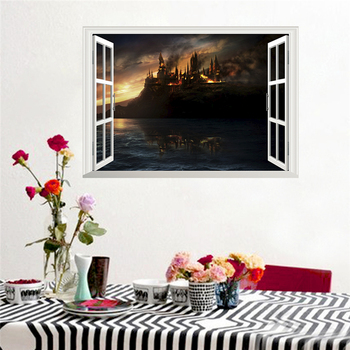 3d magic castle window wall stickers for kids rooms home decor harry potter landscape wall decals pvc mural art diy posters