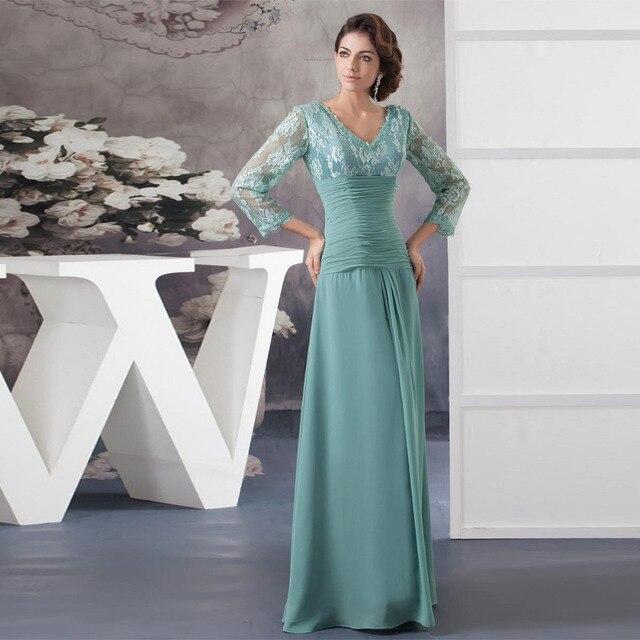 451ab5404 Sage Madre De Los Vestidos de Novia de Gasa Plisado Una Línea Larga  elegante Vestido de