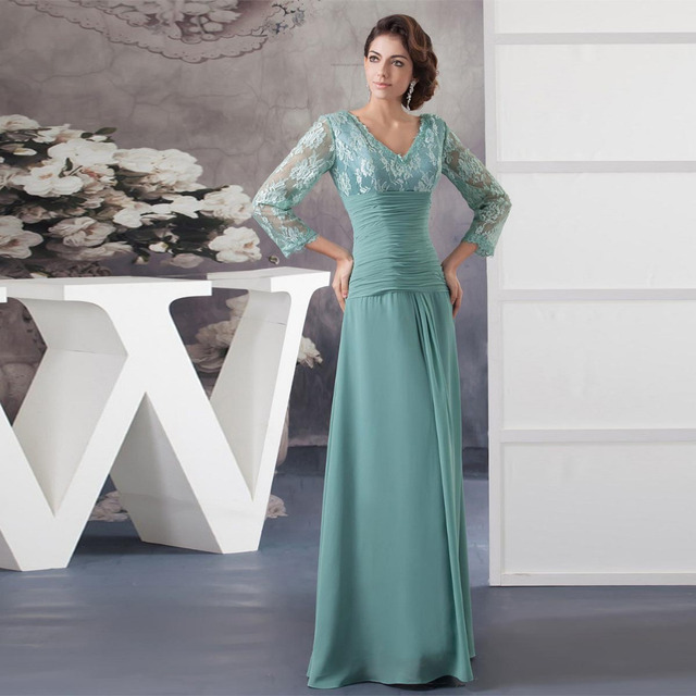 Sage Mother Of The Bride Dresses Chiffon Pleat A Line Long Elegant Mother Dress For Wedding Party Gowns Floor Length With Sleeve