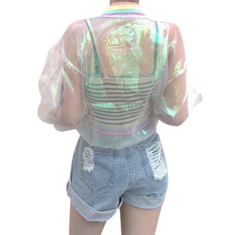 Harajuku Для женщин летняя куртка Лазерная Радуга с голограммой, пальто Радужный прозрачный Курточка бомбер непроницаемый для солнечных одноцветное пальто W6