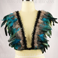 Feather Epaulettes caged bra Bondage Shoulder Harness Wedding Wing Crop Top Feather Bra pastel Goth Lingerie Festival Rave Wear