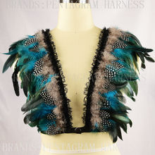 Feather Epaulettes caged bra Bondage Shoulder Harness Wedding Wing Crop Top Feather Bra pastel Goth Lingerie Festival Rave Wear(China)