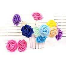 1PSC 8cm foam rose artificial flower multicolor wedding decoration fake melsnajsd diy