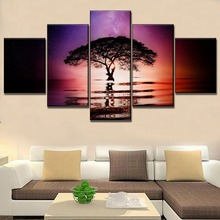 Artwork For Modern Living Room Wall Decorative 5 Piece Starry Sky Landscape Tree In Lake Reflection Picture On Canvas Print
