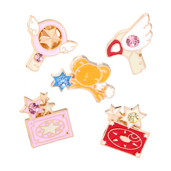 Trendy Animal Cartoon Brooches Jewelry Variety Sakura Magic Caro Card Captor Angel Wings Five-pointed Star Sticks Key Brooch Pin image