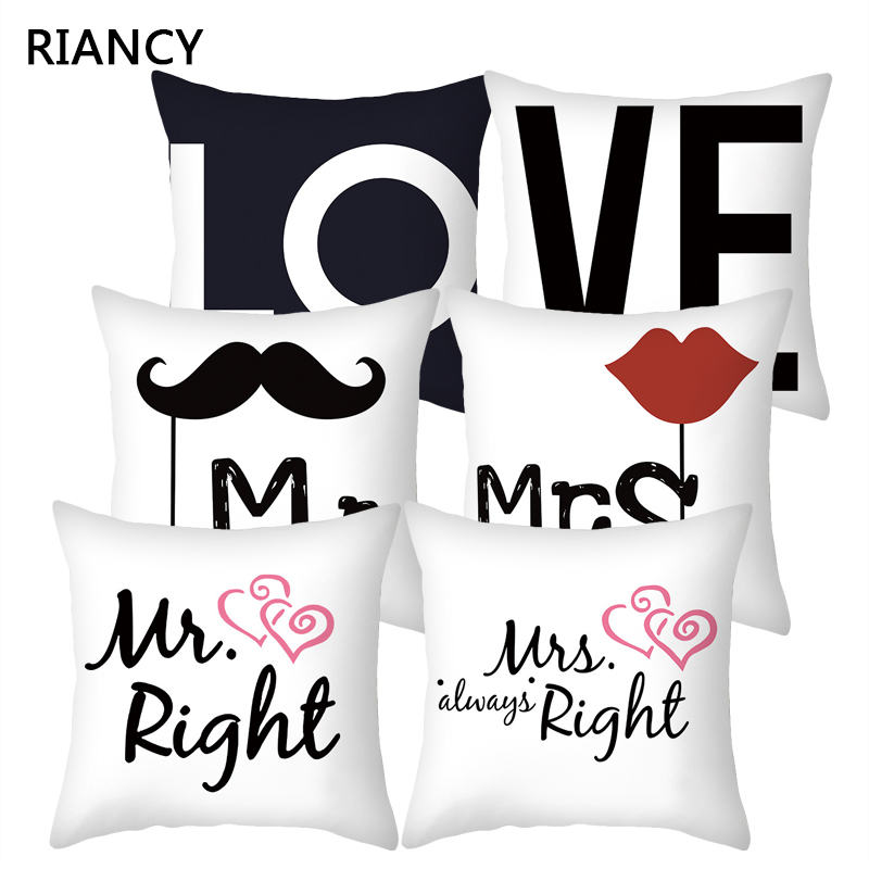 Love Mr Mrs Couples Cushion Cover Polyester Sweet Lovers Pillowcases Home Decor Wedding Decoration Pillow Cover 45*45cm 40824