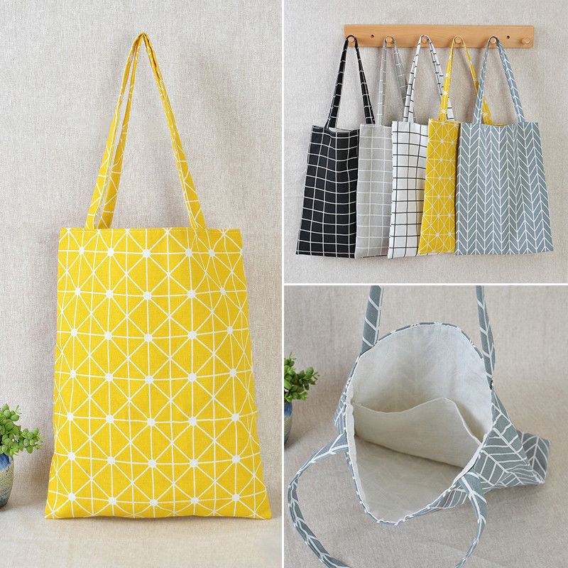 05c32f49ed7e Fashion Ladies Girls Casual Tote Bags Popular Women Cotton Linen Grid  Striped Shoulder Bag Handbag Canvas
