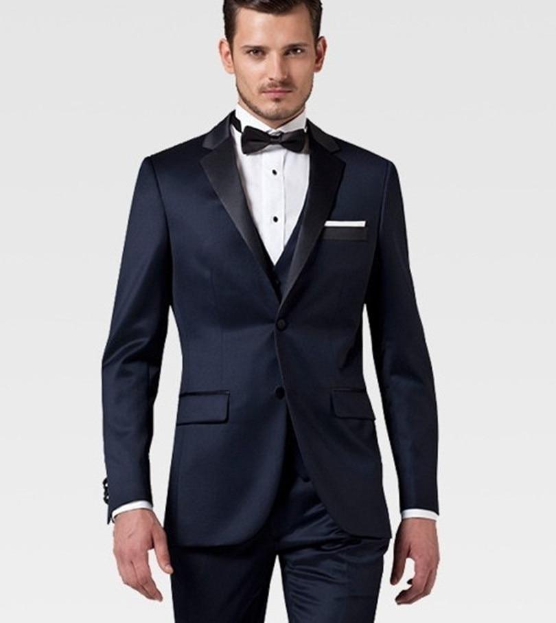 Custom Made Groom Wedding Suit Wool Groom Tuxedo Navy Suit
