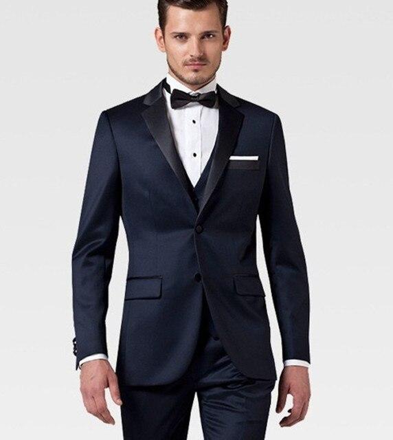 Custom Made Groom Wedding Suit Wool Tuxedo Navy Men Wear 2017 Slim Fit
