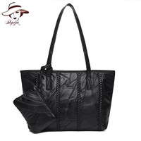 Set Bags Genuine Leather 2 Bags Shoulder Handbag And Clutch Famous Brand Messenger Hand Bag Knitting