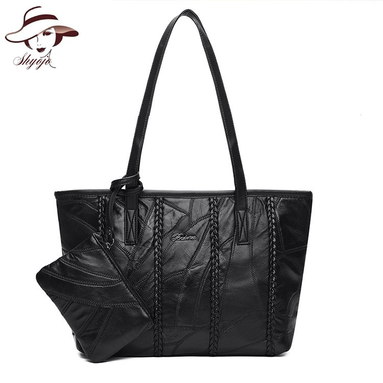 Set Bags Genuine Leather 2 Bags Shoulder Handbag and Clutch Famous Brand Messenger Hand Bag Knitting Crossbody Tote Ladies Purse 5 color famous brand designer tassel women handbag genuine leather shoulder crossbody bags messenger ladies purse satchel retro