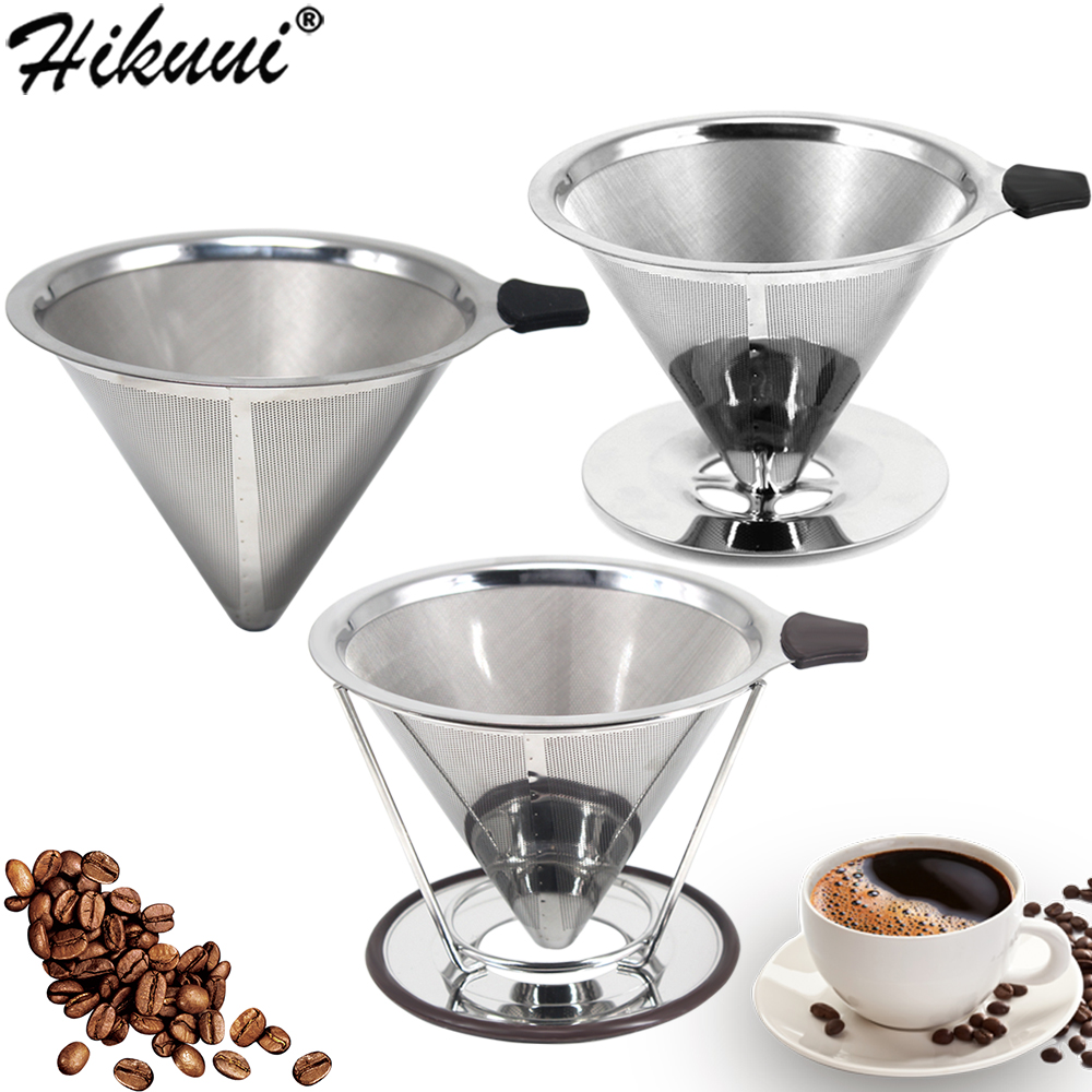 HIKUUI  Double Layer Drip Coffee Filter 18/8 Stainless Steel Reusable Cone Funnel Strainer Coffe Filter Holder Coffee Tools