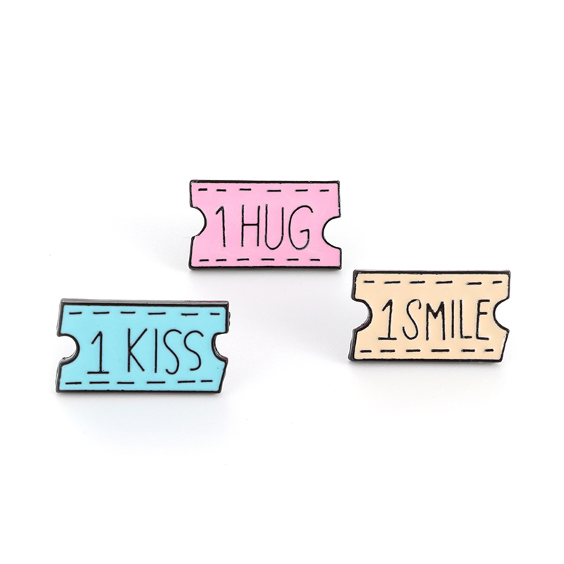 Cartoon coupons eanmel pin hugs and kisses icon Card games Lapel pin brooch valentines day gift badge jewelry gift in Brooches from Jewelry Accessories