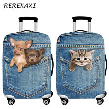 REREKAXI Cute Animal 3D Pattern Travel Luggage Protection Cover,18-32 Inch Suitcase Elastic Case Covers, Trolley Dust Cover(China)