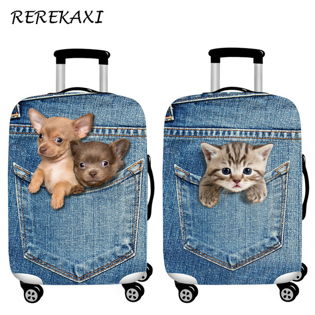 REREKAXI Cute Animal 3D Pattern Travel Luggage Protection Cover,18-32 Inch Suitcase Elastic Case Covers, Trolley Dust Cover