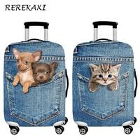 REREKAXI Leuke Dier 3D Patroon Reizen Bagage Bescherming Cover, 18-32 Inch Koffer Elastische Case Covers, trolley Stofkap