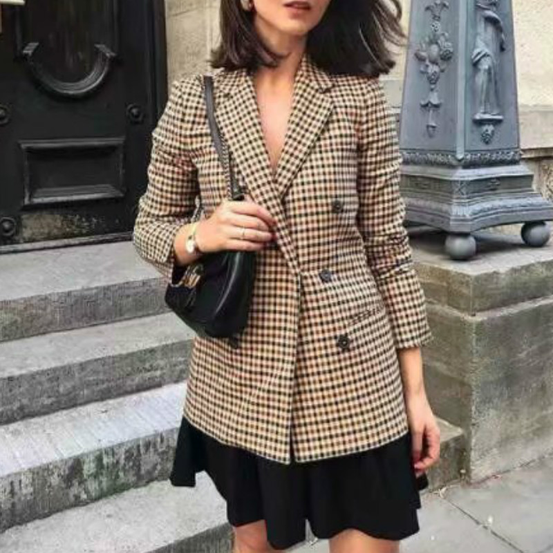 Ladies Plaid Blazer Fashion Double-breasted Long-sleeved Suit Jacket Women's Casual Loose Office Jacket Women's Clothes 2019