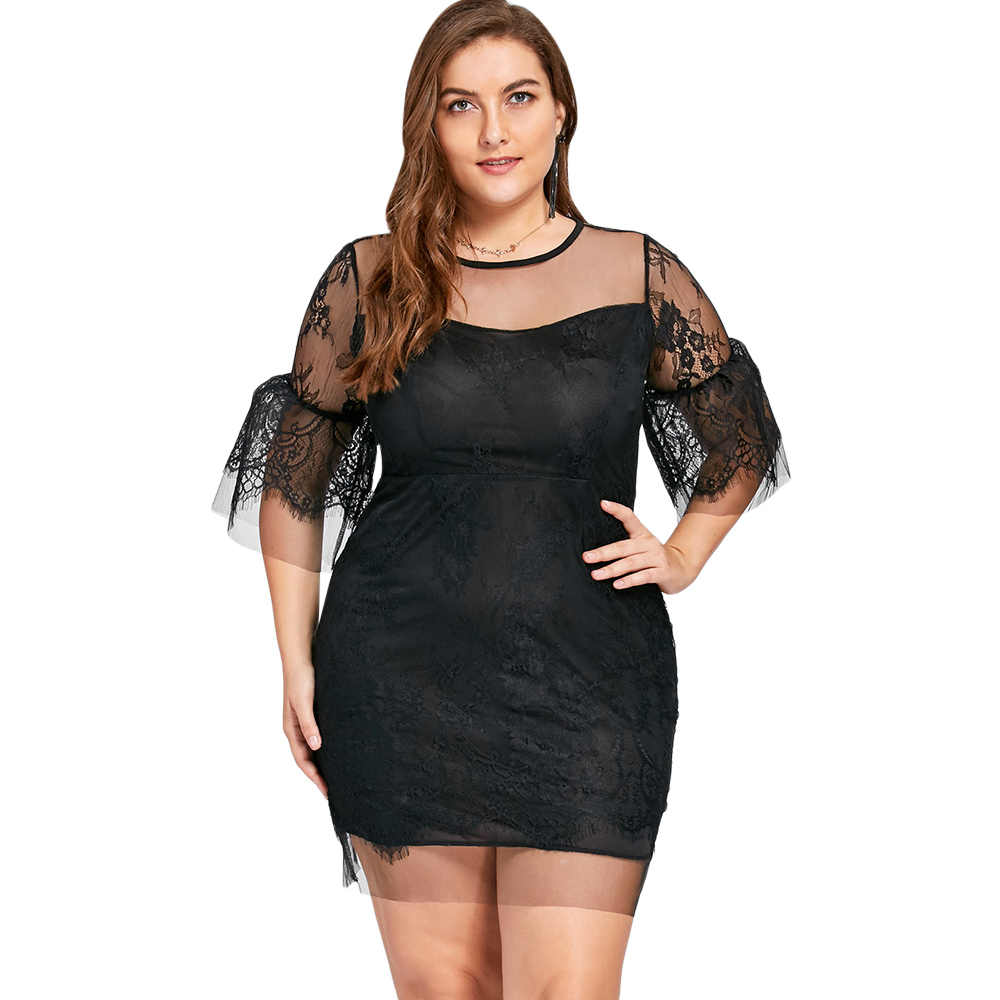 13e8d1cfafda GAMISS Plus Size 5XL 4XL Sheer Lace Insert Mini Bodycon Dress Women Sexy  Mesh Night Party