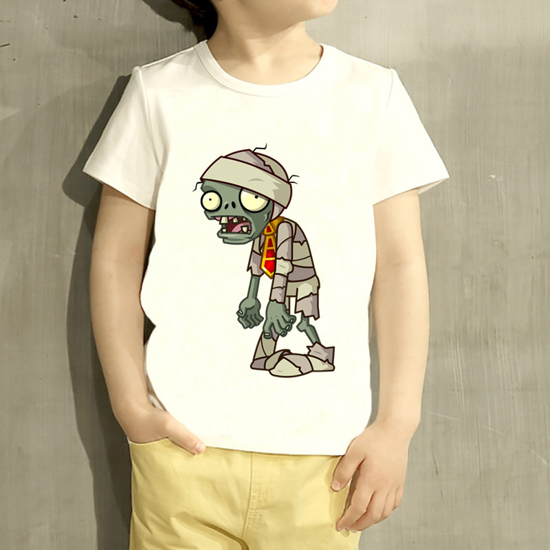Kids Game Plants Vs Zombies Printed Cartoon Design T Shirt Boys/Girls Casual Short Sleeve Tops Children Cute T-Shirt,HKP2140
